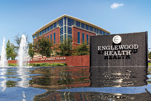 Englewood Health exterior fountain