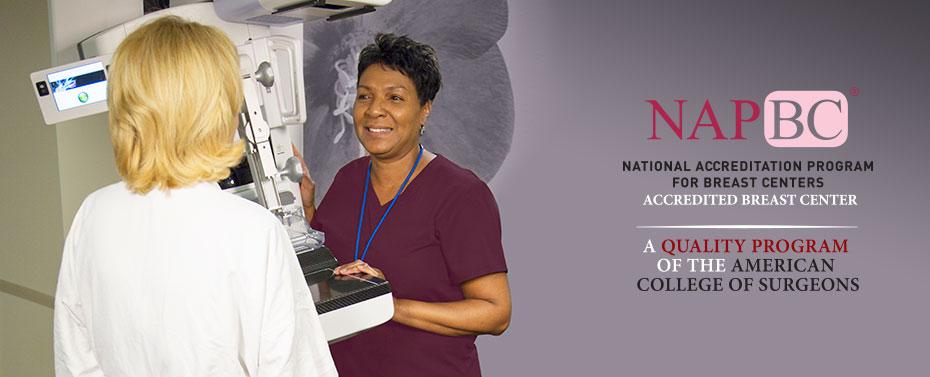 Mammogram tech and patient, NAPBC accreditation logo