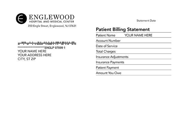 Sample invoice with header Patient Billing Statement