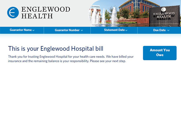 Sample invoice with header This Is Your Englewood Hospital Bill