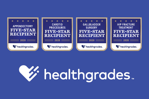Healthgrades 5-star 2020 award badges