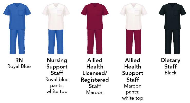 Common care team uniform colors