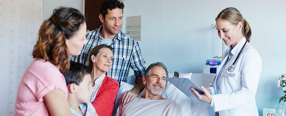 Doctor attending family