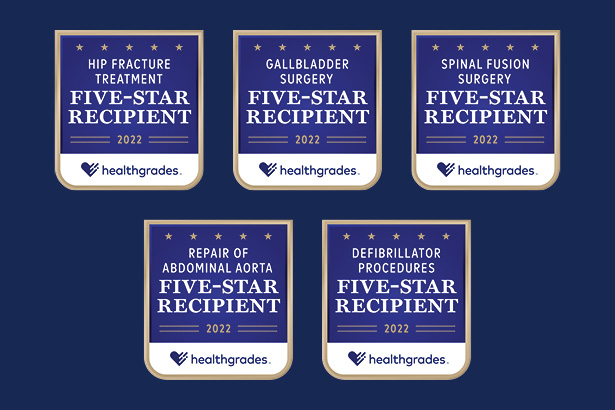 Healthgrades 2022 5-star quality award badges